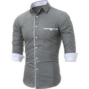 New Patch Pockets Men's Casual Slim Long-Sleeved Shirt - GRAY 4XL