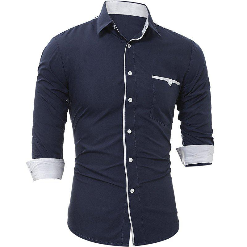 New Patch Pockets Men's Casual Slim Long-Sleeved Shirt - DEEP BLUE XL