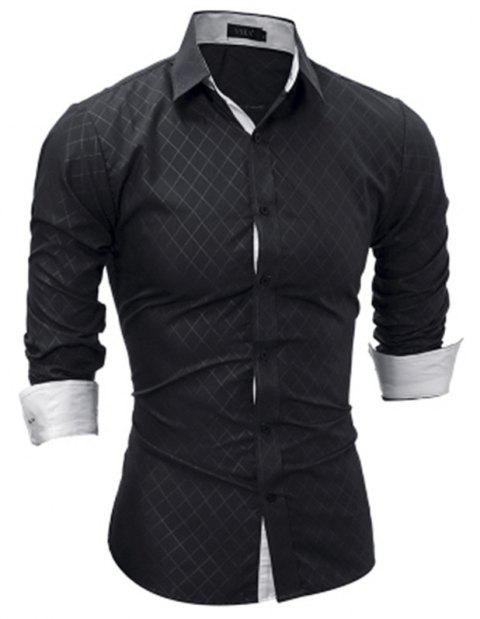 Classic Lined-Lined Lingge Men Casual Long-Sleeved Shirt - BLACK 2XL