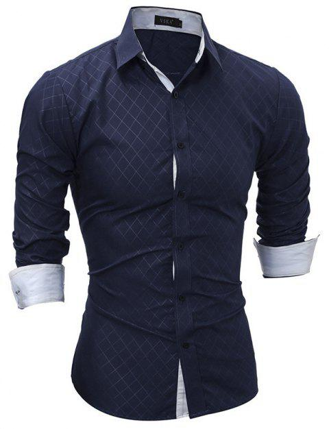 Classic Lined-Lined Lingge Men Casual Long-Sleeved Shirt - DEEP BLUE XL