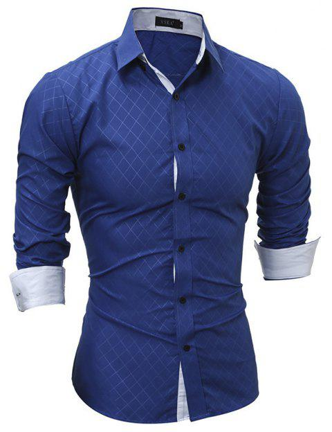 Classic Lined-Lined Lingge Men Casual Long-Sleeved Shirt - ROYAL BLUE 2XL