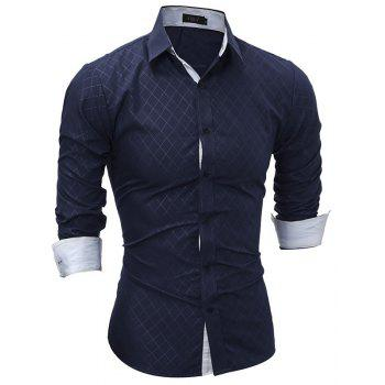Classic Lined-Lined Lingge Men Casual Long-Sleeved Shirt - DEEP BLUE M