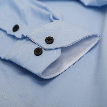 Classic Lined-Lined Lingge Men Casual Long-Sleeved Shirt - LIGHT BLUE M