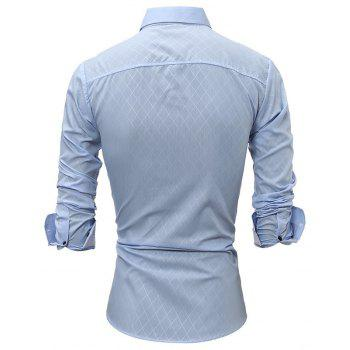 Classic Lined-Lined Lingge Men Casual Long-Sleeved Shirt - LIGHT BLUE L