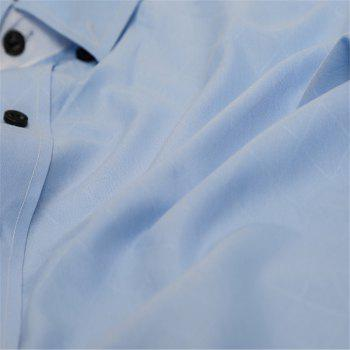 Classic Lined-Lined Lingge Men Casual Long-Sleeved Shirt - LIGHT BLUE 2XL