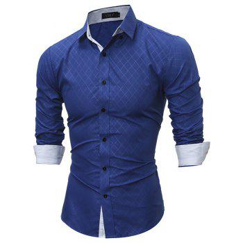 Classic Lined-Lined Lingge Men Casual Long-Sleeved Shirt - ROYAL BLUE XL