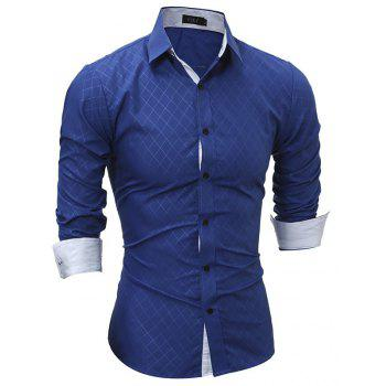 Classic Lined-Lined Lingge Men Casual Long-Sleeved Shirt - ROYAL BLUE M