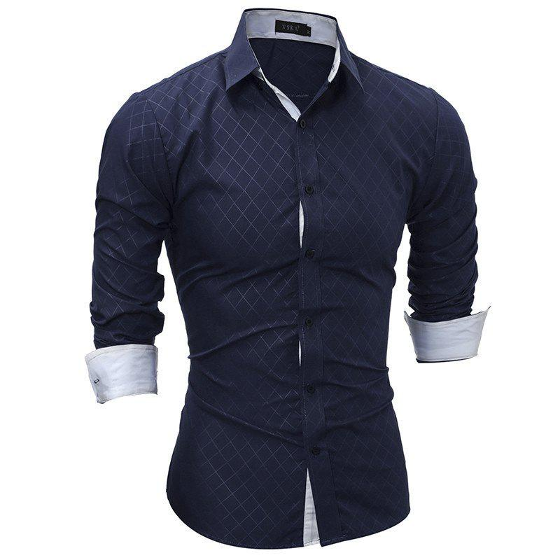 Classic Lined-Lined Lingge Men Casual Long-Sleeved Shirt - DEEP BLUE L