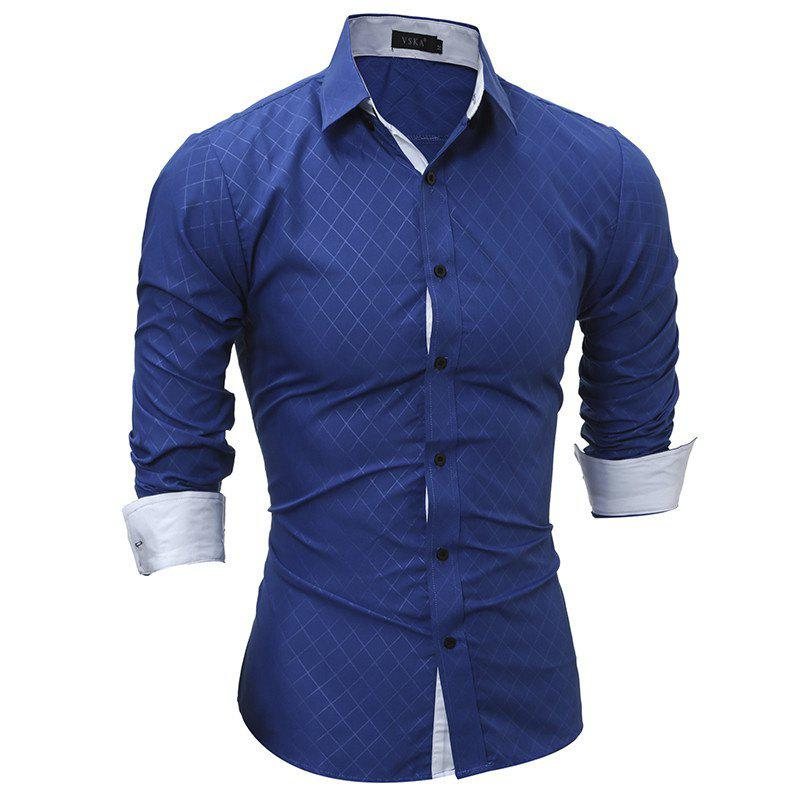 Classic Lined-Lined Lingge Men Casual Long-Sleeved Shirt