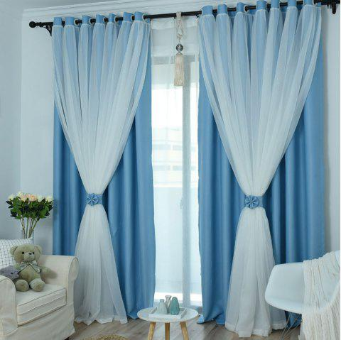 KoreanLace Full Shade Pure Curtains Finished Products Simple Modern Windows - DAY SKY BLUE 140CM X 260CM
