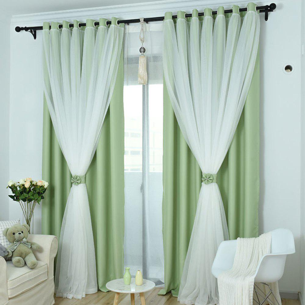 KoreanLace Full Shade Pure Curtains Finished Products Simple Modern Windows - FROG GREEN 130CM X170CM