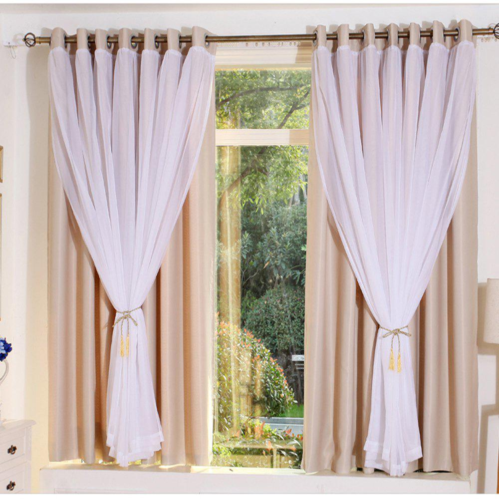 KoreanLace Full Shade Pure Curtains Finished Products Simple Modern Windows - CHAMPAGNE 140CM X 260CM