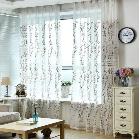 American Rural Blue Embroidered Gauze Curtain - CAMEL BROWN 140CM X260CM
