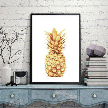 New Nordic Modern Golden Pineapple Ornament Oil Painting 2PCS - multicolor A