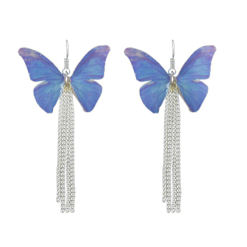 Butterfly Insect Pattern Drop Earrings with Silver Color Chain чайник galaxy gl 0103