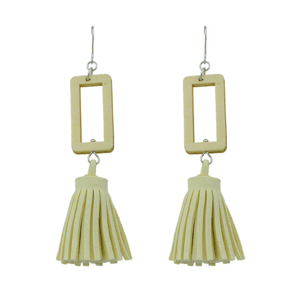 Tassel Square Pattern Geometric Drop Earrings faux opal geometric earrings