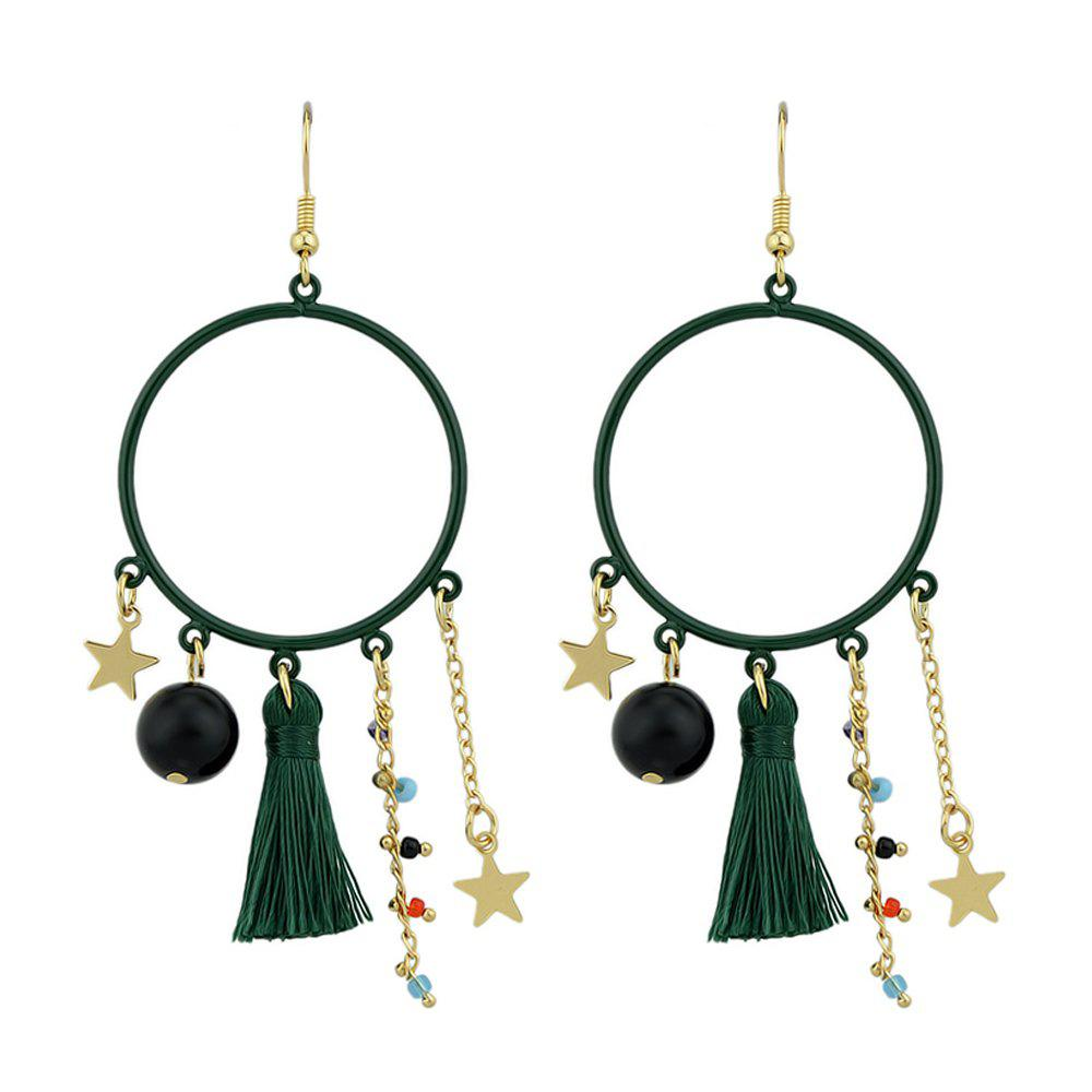 Tassel Colorful Beads Star Charms Drop Earrings