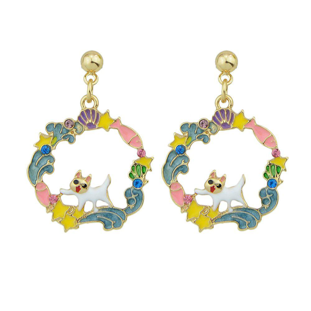 Colorful Enamel Geometric Star Cat Drop Earrings сапоги esse