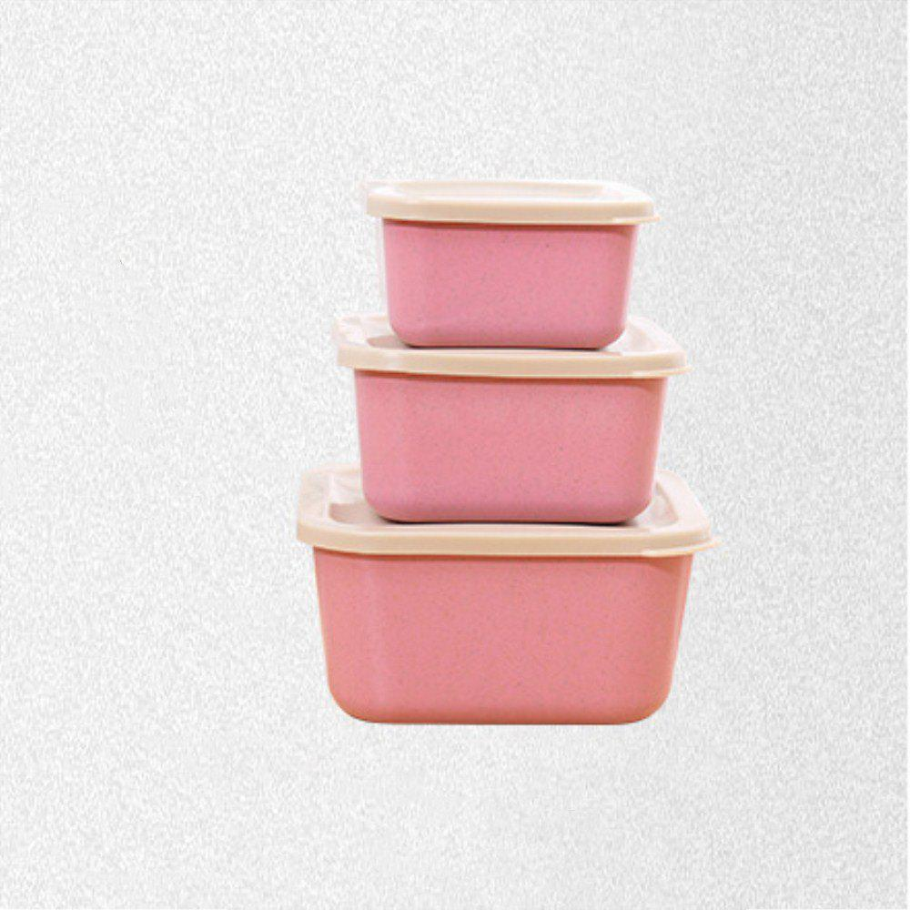 Creative Fresh-Keeping Students with Wheat Straw 3 in 1 Lunch Box - PINK