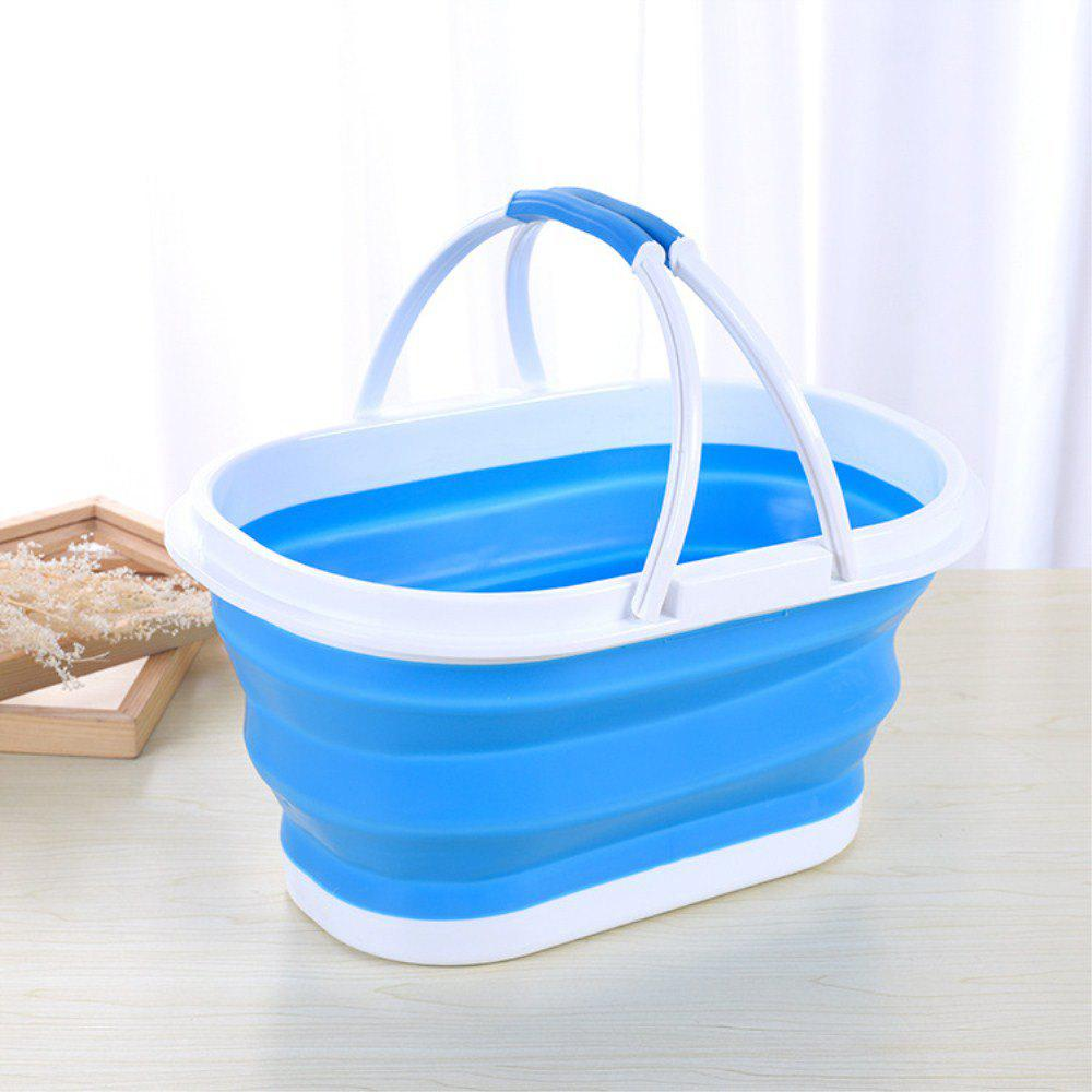 Portable Folding Hand-Held Shopping Basket - CRYSTAL BLUE