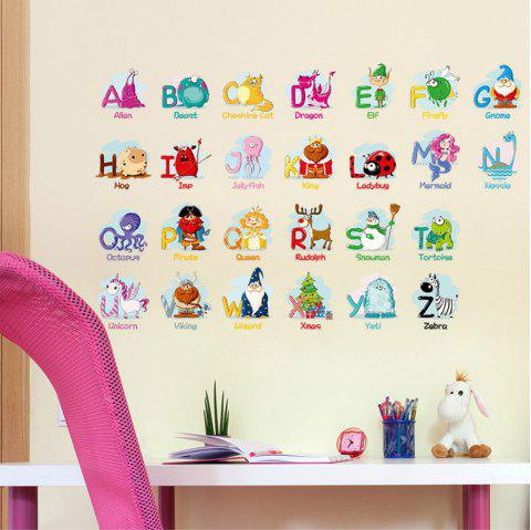 Creative Decoration Cartoon 3D Alphabet Wall Sticker - multicolor A