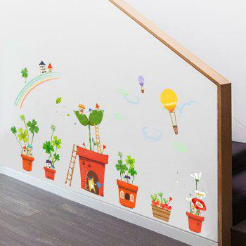 Creative Decoration Cartoon 3D Potted House Wall Sticker - multicolor A