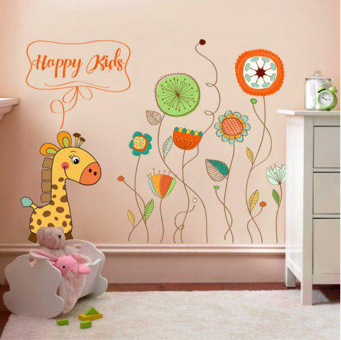 Creative Decoration Cartoon 3D Animal and Plant Wall Sticker - multicolor A