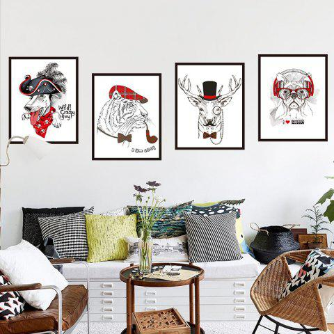 Creative Decoration 3D Cartoon Animal Picture Wall Stickers - multicolor A