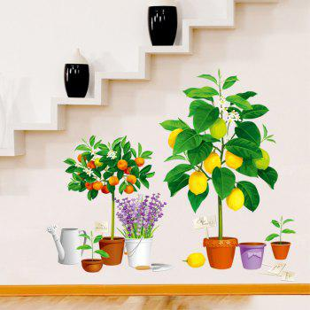 Creative Decoration Cartoon 3D Fruit Potted Wall Sticker - multicolor A