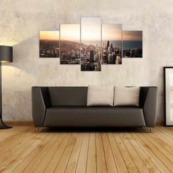 W314 View of the City Unframed Wall Canvas Prints for Home Decorations 5PCS - multicolor A