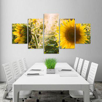 W324 Sunflowers Unframed Wall Canvas Prints for Home Decorations 5PCS - multicolor A