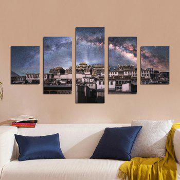 W325 Village Under Star Unframed Wall Canvas Prints for Home Decorations 5PCS - multicolor A