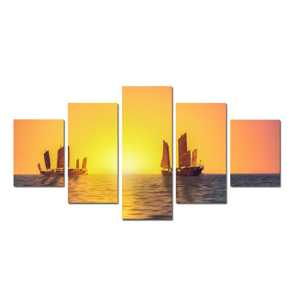 W326 Sailing on the Sea Unframed Wall Canvas Prints for Home Decorations 5PCS - multicolor A