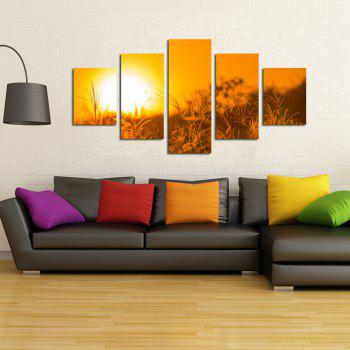 W327 Sunset Grass Unframed Wall Canvas Prints for Home Decorations 5PCS - multicolor A