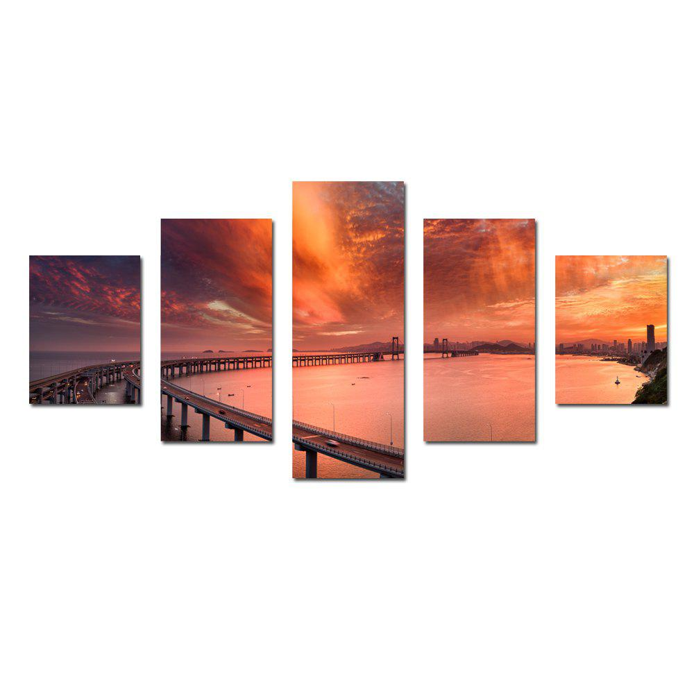 W329 Cross-Sea Bridge Unframed Wall Canvas Prints for Home Decorations 5PCS - multicolor A