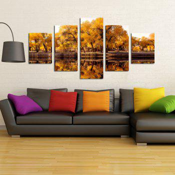 W330 Lake and Trees Unframed Wall Canvas Prints for Home Decorations 5PCS - multicolor A
