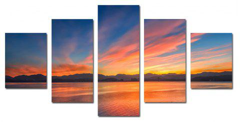 W331 Lake and Mountain Unframed Wall Canvas Prints for Home Decorations 5PCS - multicolor A