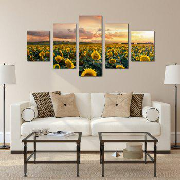 W332 Sunflowers Unframed Wall Canvas Prints for Home Decorations 5PCS - multicolor A