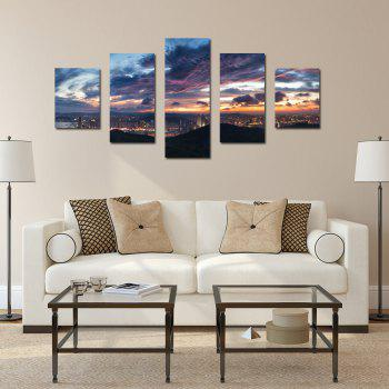 W333 View of the City Unframed Wall Canvas Prints for Home Decorations 5PCS - multicolor A