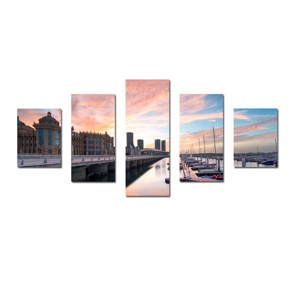 W334 Road and Harbour Unframed Wall Canvas Prints for Home Decorations 5PCS - multicolor A