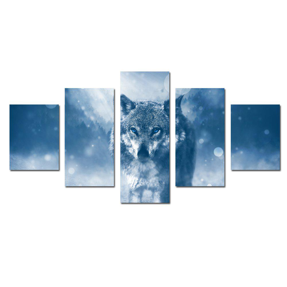 W337 Wolf Unframed Wall Canvas Prints for Home Decorations 5PCS - multicolor A