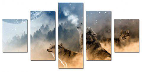 W339 Forest and Wolves Unframed Wall Canvas Prints for Home Decorations 5PCS - multicolor A