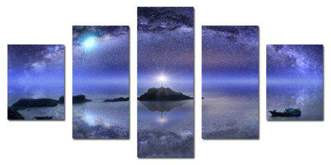 W342 Starry Sky Scenery Unframed Wall Canvas Prints for Home Decorations 5PCS - multicolor A
