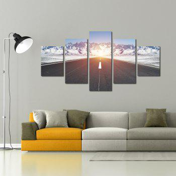 W343 Road and Snow Mountain Unframed Wall Canvas Prints Home Decorations 5PCS - multicolor A