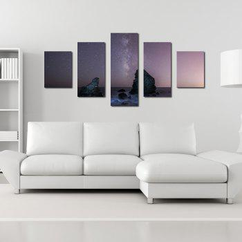 W345 Peaks Under The Stars Unframed Wall Canvas Prints for Home Decorations 5PCS - multicolor A