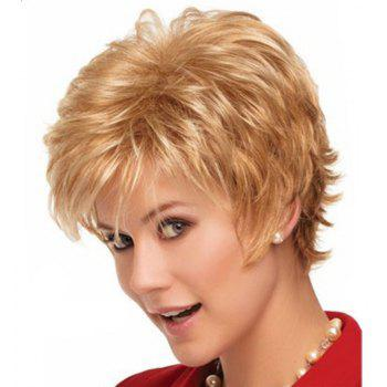 Light Gold Micro Curly Fluffy Short Wig - GOLD 12INCH