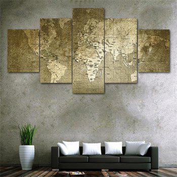 Old World Map Frameless Printed Canvas  Art Print 5PCS - multicolor A
