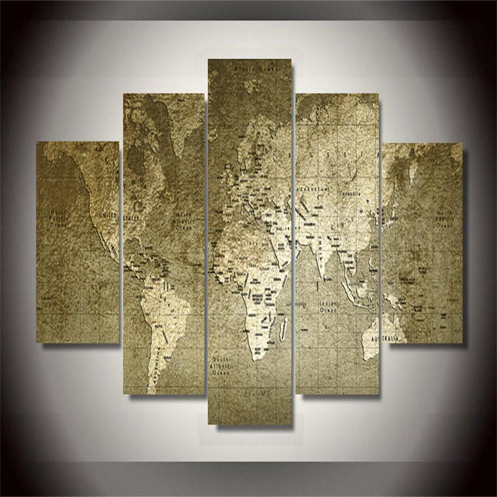 Old World Map Frameless Printed Canvas Art Print 5PCS world map frameless printed canvas wall art paintings 5pcs