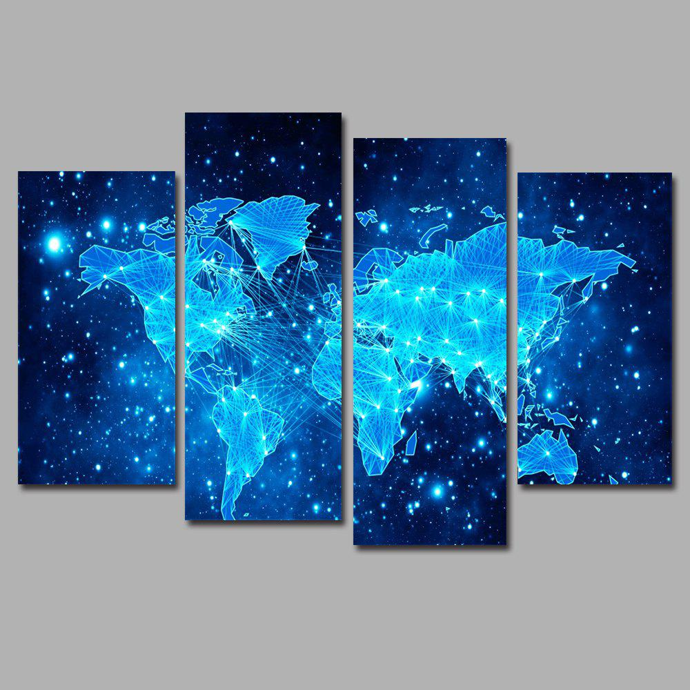 Blue Star Map Frameless Printed Canvas Wall Art Print 4PCS - multicolor A