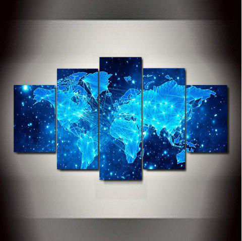 Blue Star Map  Frameless Printed Canvas  Art Print 5PCS - multicolor A